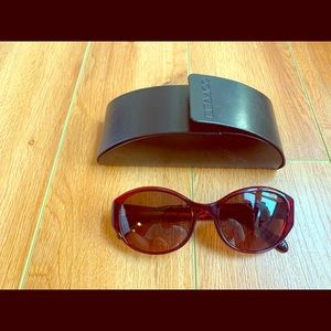 Oliver Peoples Red Sunglasses with case